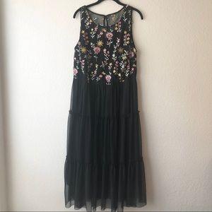 Lane Bryant Sleeveless Embroidered Mesh Dress